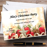 Red Baubles And Pine Cones Customised Christmas Party Invitations