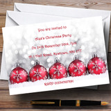 Red Baubles Customised Christmas Party Invitations