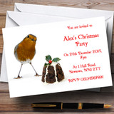 Robin And Pudding Customised Christmas Party Invitations
