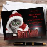 Santa Cat Customised Christmas Party Invitations