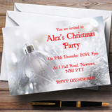 Silver Bauble Customised Christmas Party Invitations