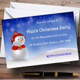 Blue Snowman Customised Christmas Party Invitations