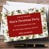 Vintage Holly Customised Christmas Party Invitations