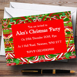 Candy Cane Customised Christmas Party Invitations