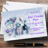 Cute Snowman And Flakes Customised Christmas Party Invitations