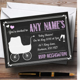 Chalkboard Pink Customised Baby Shower Invitations