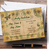 Sunflowers Vintage Shabby Chic Postcard Customised Engagement Party Invitations