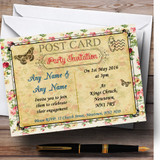 Vintage Floral Paris Shabby Chic Postcard Customised Engagement Party Invitations