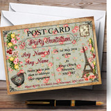 Vintage Paris Shabby Chic Postcard Floral Customised Engagement Party Invitations