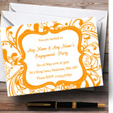 White & Orange Swirl Deco Customised Engagement Party Invitations