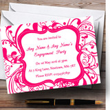 White & Pink Swirl Deco Customised Engagement Party Invitations