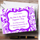 White & Purple Swirl Deco Customised Engagement Party Invitations