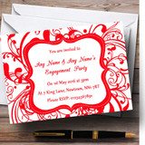 White & Red Swirl Deco Customised Engagement Party Invitations
