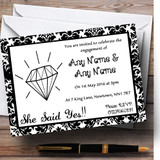 White Diamond Damask Customised Engagement Party Invitations