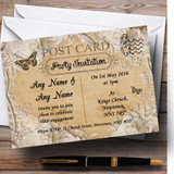 White Rose Vintage Shabby Chic Postcard Customised Engagement Party Invitations