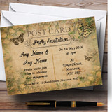 White Roses Vintage Shabby Chic Postcard Customised Engagement Party Invitations