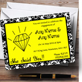 Yellow Diamond Damask Customised Engagement Party Invitations