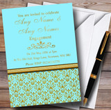 Aqua Sky Blue & Gold Vintage Damask Customised Engagement Party Invitations