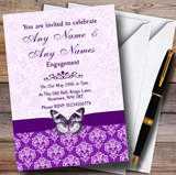 Cadbury Purple Vintage Floral Damask Butterfly Customised Engagement Party Invitations