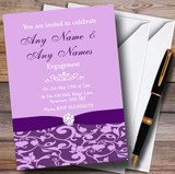 Cadbury Purple Vintage Floral Damask Diamante Customised Engagement Party Invitations