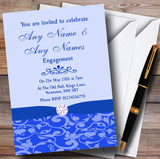 Cobalt Blue Vintage Floral Damask Diamante Customised Engagement Party Invitations