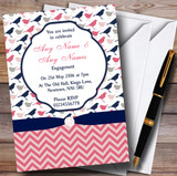 Coral Pink & Navy Blue Shabby Chic Birds Customised Engagement Party Invitations