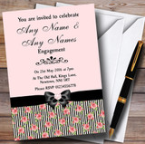 Coral Pink Rose Shabby Chic Black Stripes Customised Engagement Party Invitations