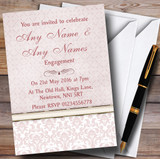 Dusky Rose Pink Damask Vintage Pearl Customised Engagement Party Invitations