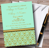 Mint Green & Gold Vintage Damask Customised Engagement Party Invitations