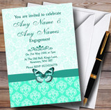 Mint Green Vintage Floral Damask Butterfly Customised Engagement Party Invitations