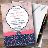Navy Blue & Coral Pink Floral Customised Engagement Party Invitations
