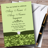 Olive Green Vintage Floral Damask Diamante Customised Engagement Party Invitations