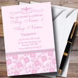 Pretty Baby Rose Pink Floral Diamante Customised Engagement Party Invitations