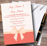 Quilted Look Coral Bow Customised Engagement Party Invitations