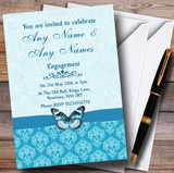 Tiffany Blue Turquoise Vintage Floral Damask Butterfly Customised Engagement Party Invitations