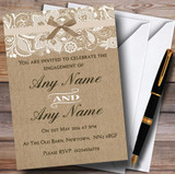 Vintage Burlap & Lace Customised Engagement Party Invitations