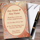 Coral Peach Cream Diamond Engagement Party Customised Invitations