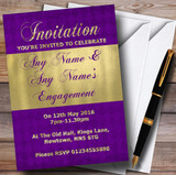 Purple And Glitter Look Gold Engagement Party Customised Invitations