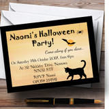 Scary Black Cat Customised Halloween Party Invitations
