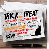 Trick Or Treat Black Cat Customised Halloween Party Invitations