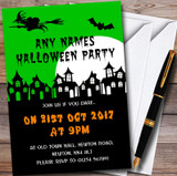 Green Scary Haunted Houses Customised Halloween Party Invitations