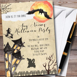 Scary Witch Haunted House Customised Halloween Party Invitations