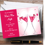Pink Strawberry Cocktails Customised Hen Do Night Party Invitations