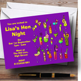 Purple Cocktails Customised Hen Do Night Party Invitations