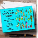 Turquoise Cocktails Customised Hen Do Night Party Invitations
