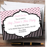Pink And Black Stripes And Polkadots Paris Chic Hen Party Customised Invitations