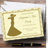 Gold Yellow Classic Customised Hen Party Invitations