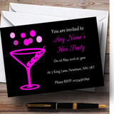 Hot Pink Cocktail Customised Hen Party Invitations