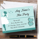 Turquoise Aqua Bride Hearts Customised Hen Party Invitations