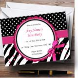 Zebra Print And Polka Dot Black Pink Customised Hen Party Invitations